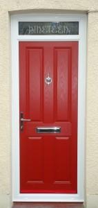 Composite door in red with etch effect top light