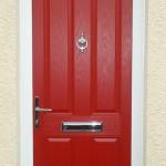 Composite door in red with etch effect top light