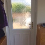 Back door with frosted glass